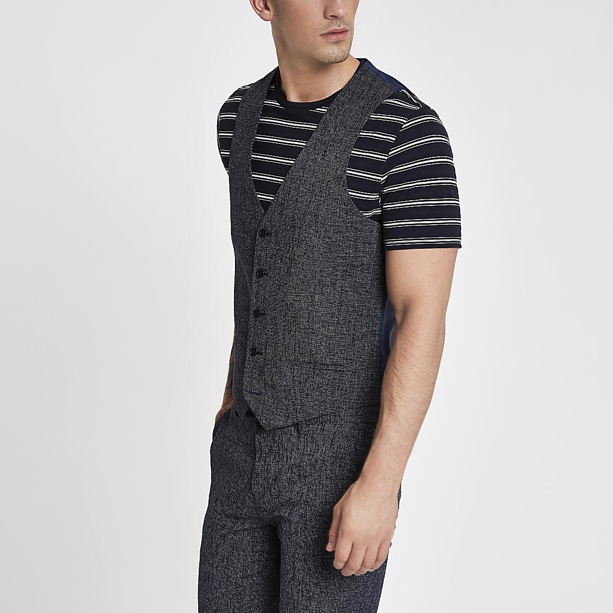 Navy textured suit vest