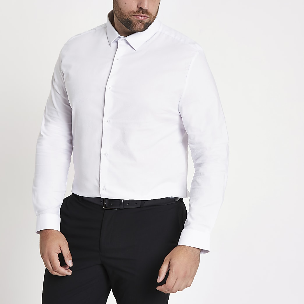 Big & Tall – Chemise blanche à manches longues