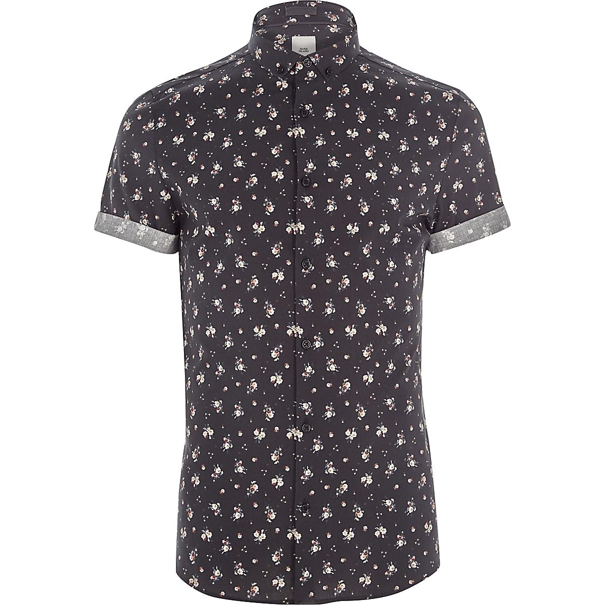 Black ditsy floral print skinny fit shirt
