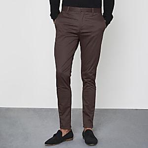 Burgundy skinny fit chino pants