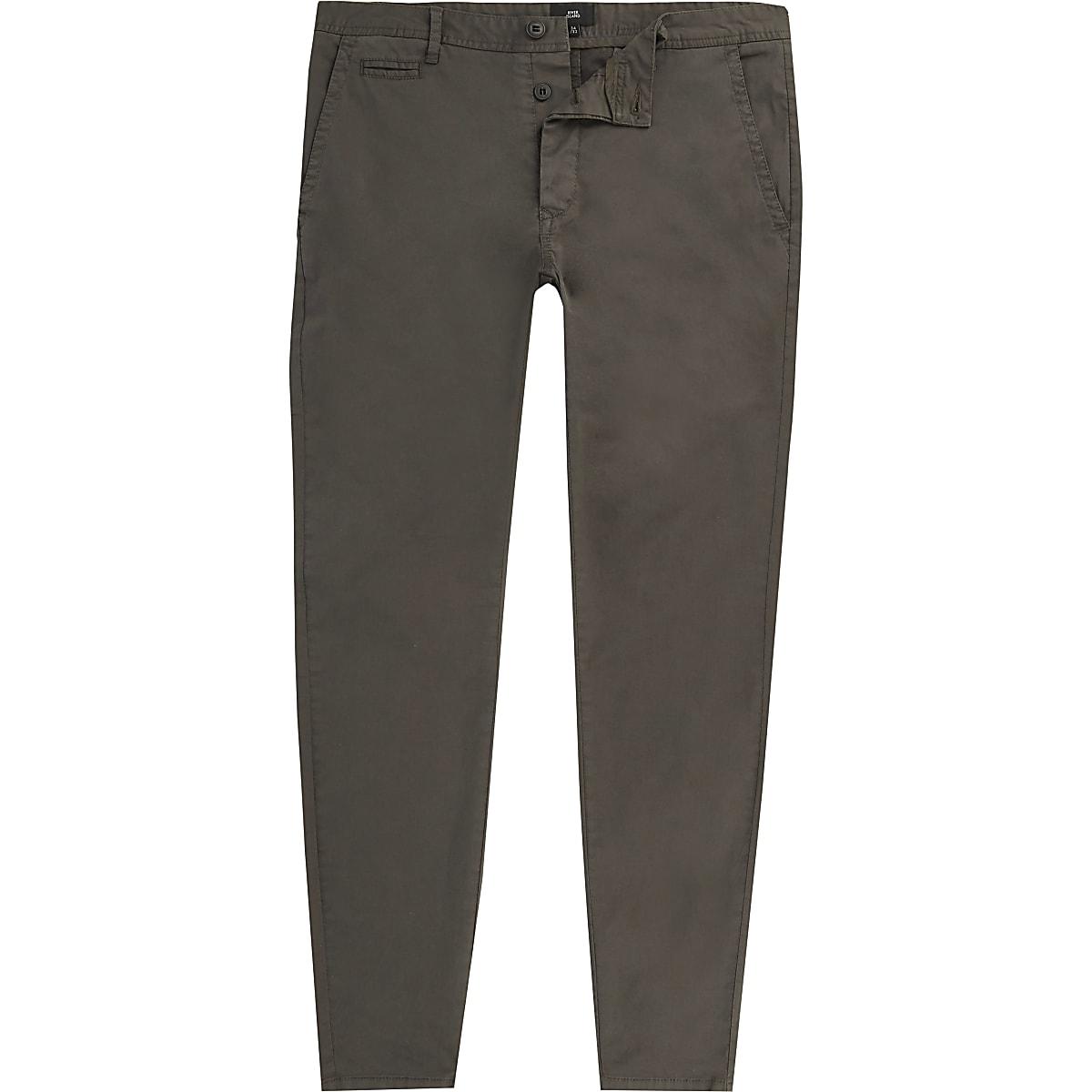 Dark grey super skinny fit chino pants