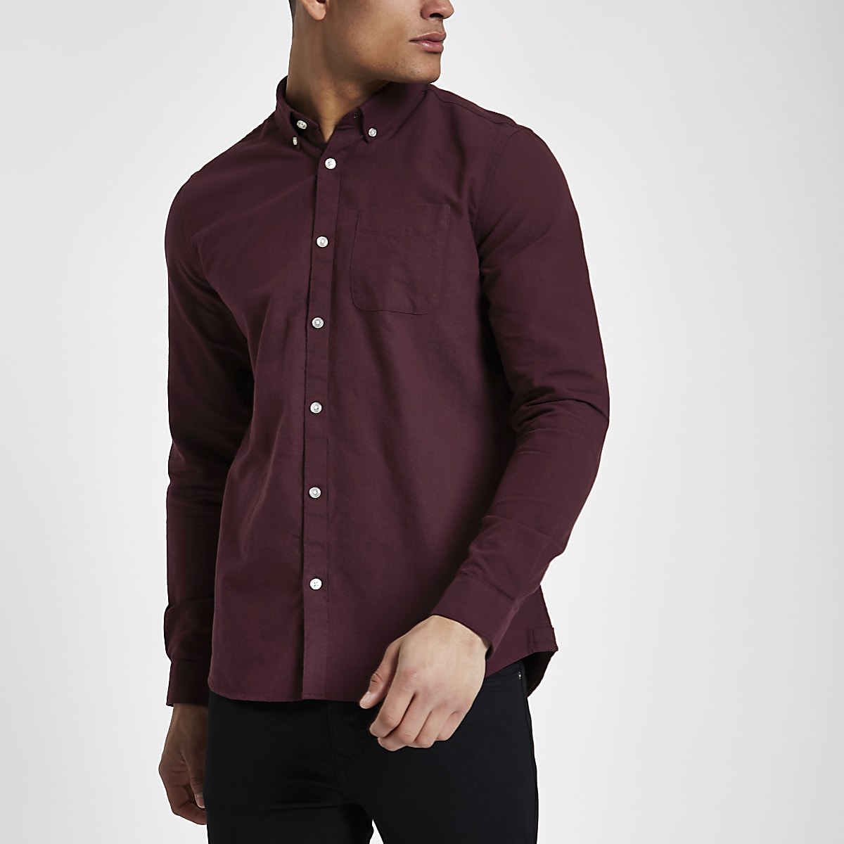 Purple long sleeve Oxford shirt