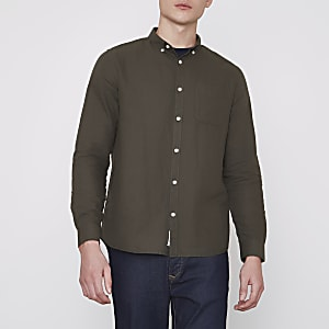 Khaki green long sleeve Oxford shirt
