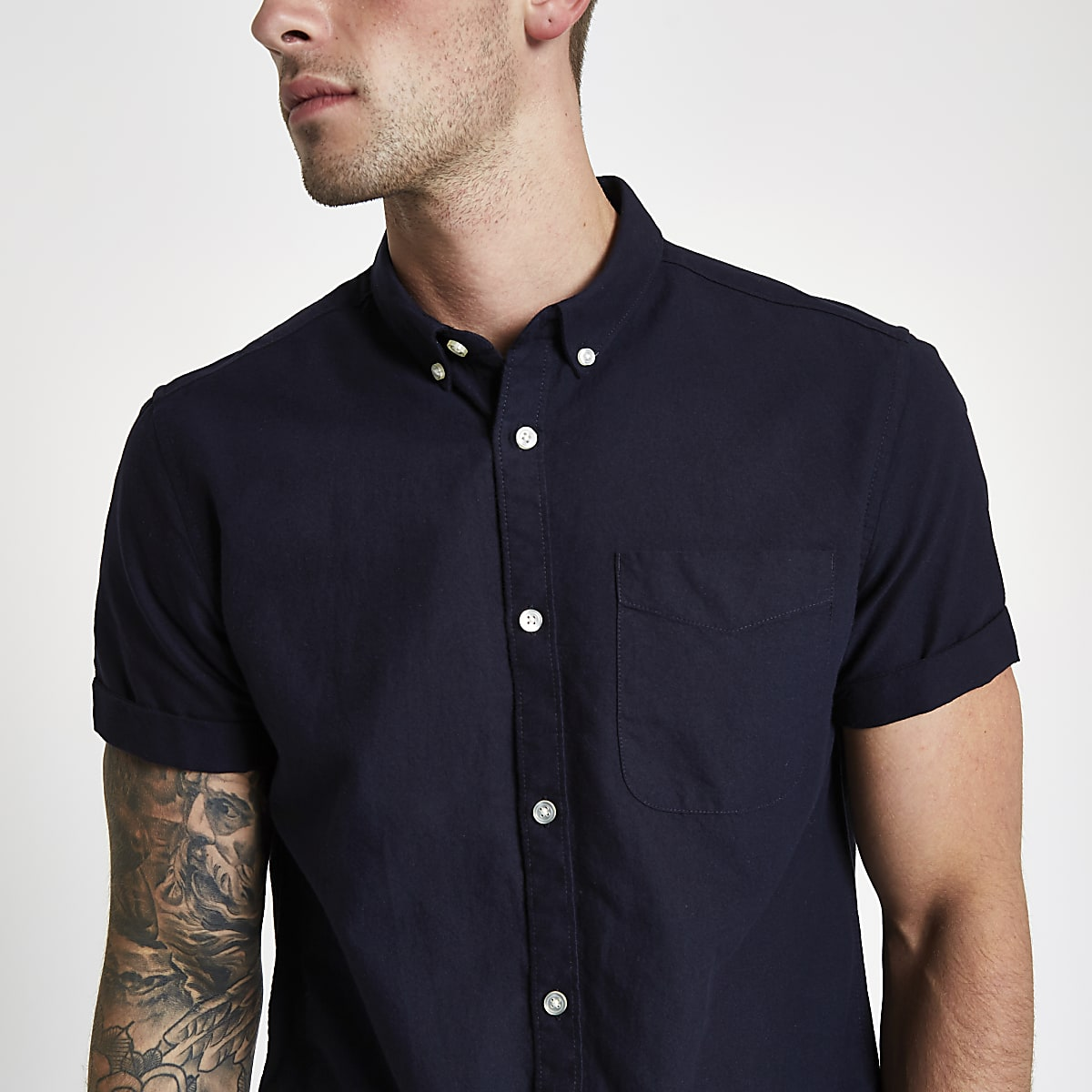 Navy rolled short sleeve Oxford shirt