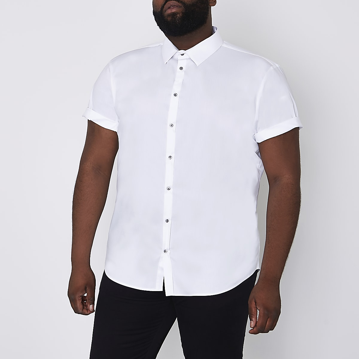Chemise Big & Tall blanche à manches courtes