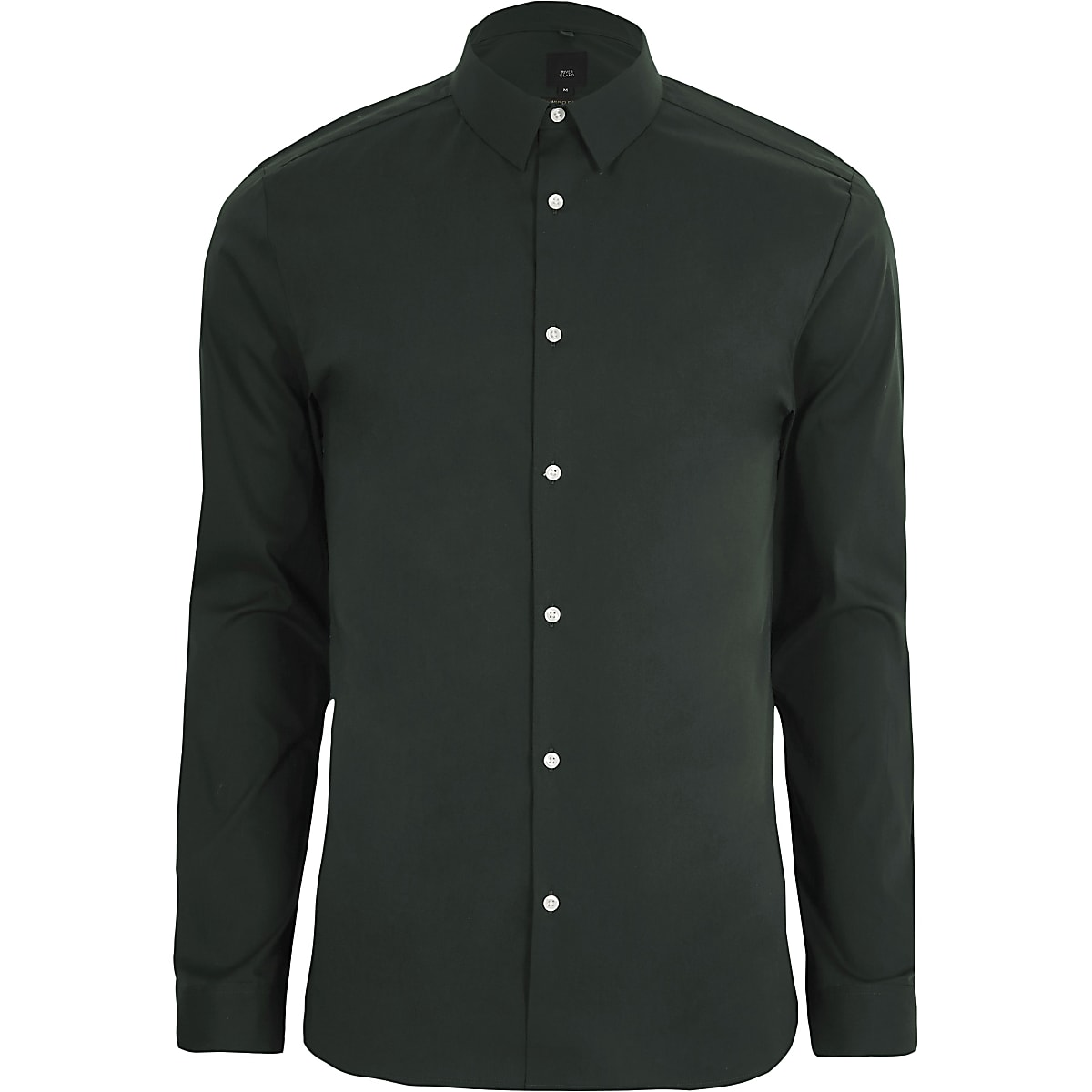 Green muscle fit long sleeve shirt