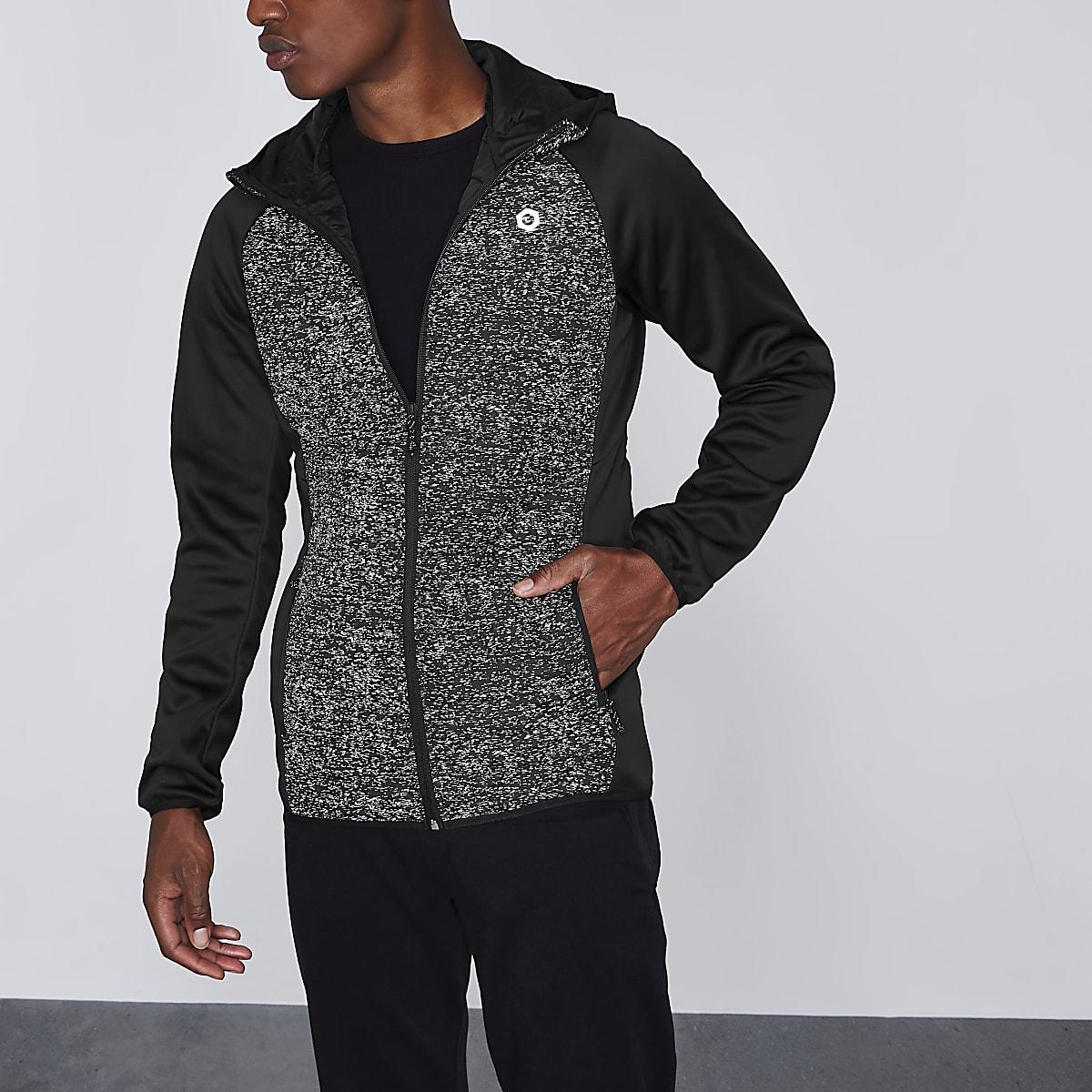 Jack & Jones Core black scuba sleeve hoodie