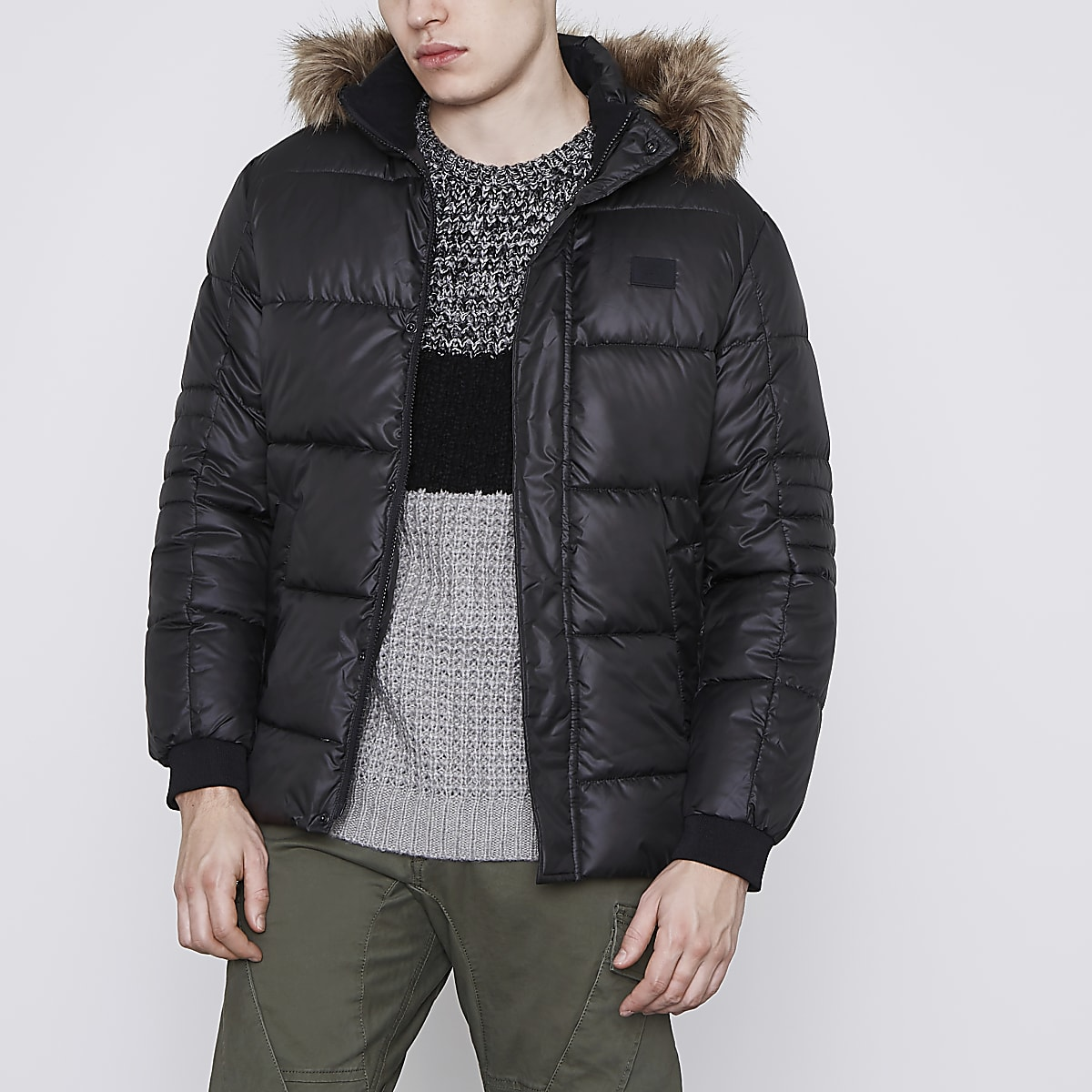 Jack & Jones Core black puffer jacket