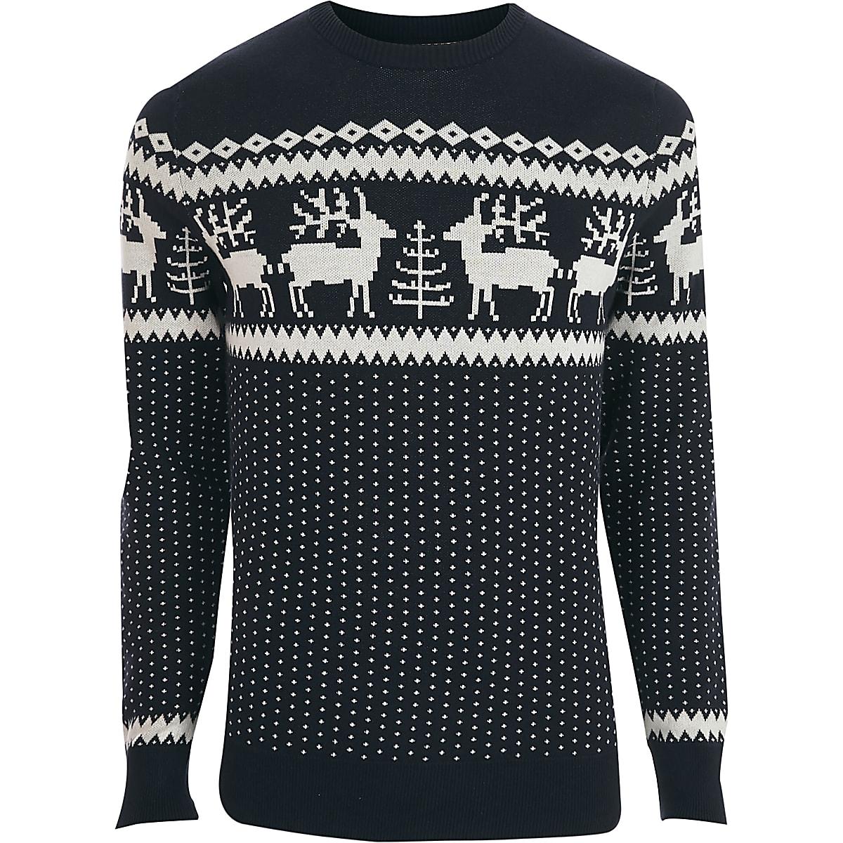 Kersttrui Maat L.Jack Jones Premium Marineblauwe Kersttrui Pullovers