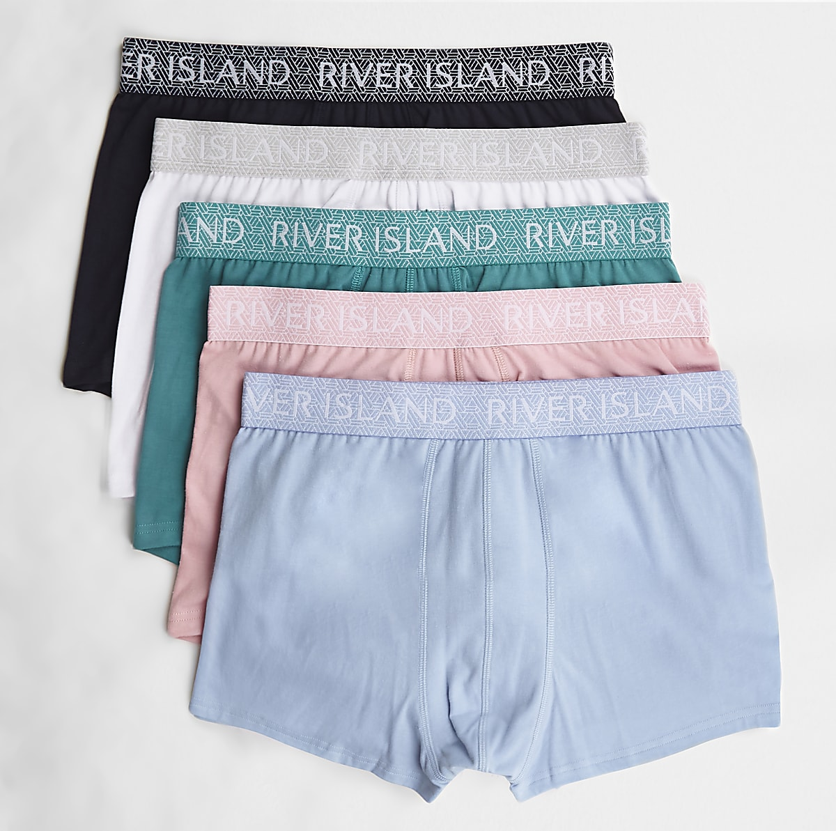Green geo waistband hipsters 5 pack