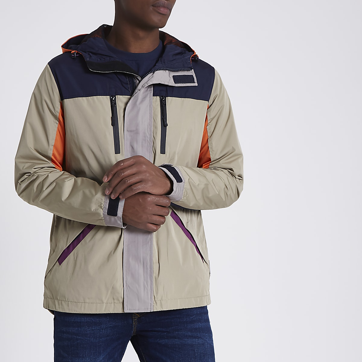 Bellfield stone colour block hooded jacket