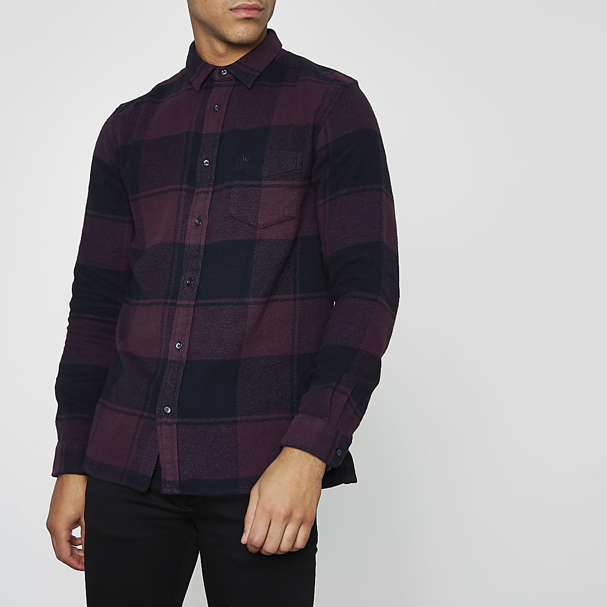 Wrangler burgundy long sleeve check shirt