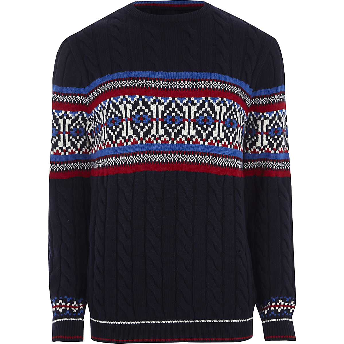 Navy Fairisle cable knit Christmas jumper
