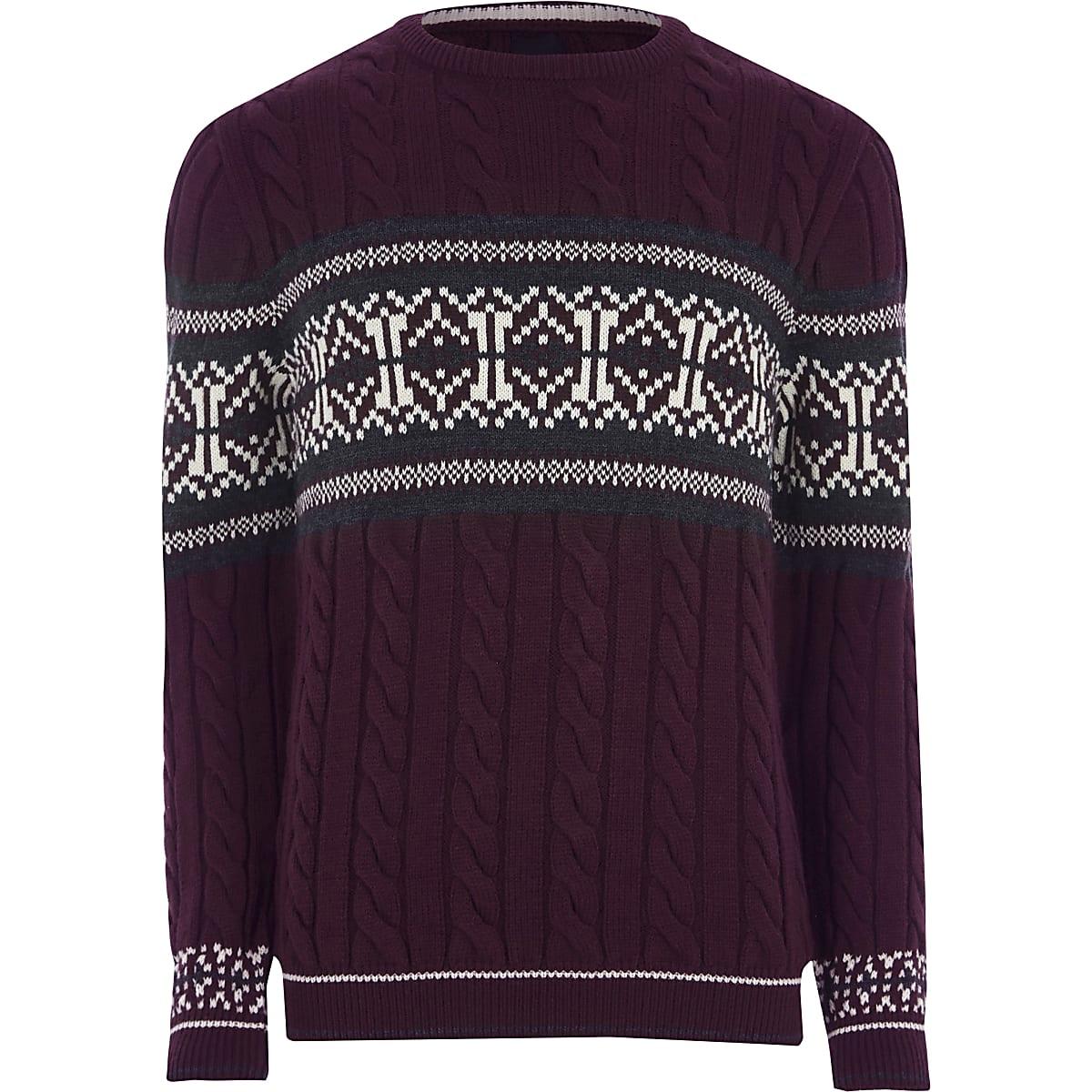 Burgundy cable knit Fairisle Christmas jumper