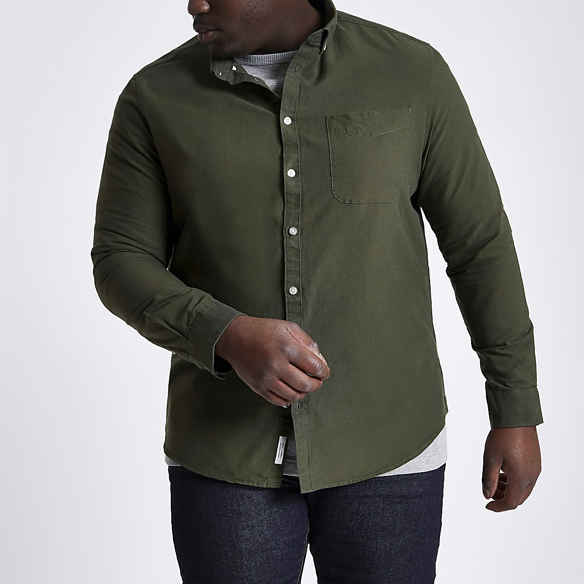 Big and Tall green long sleeve Oxford shirt