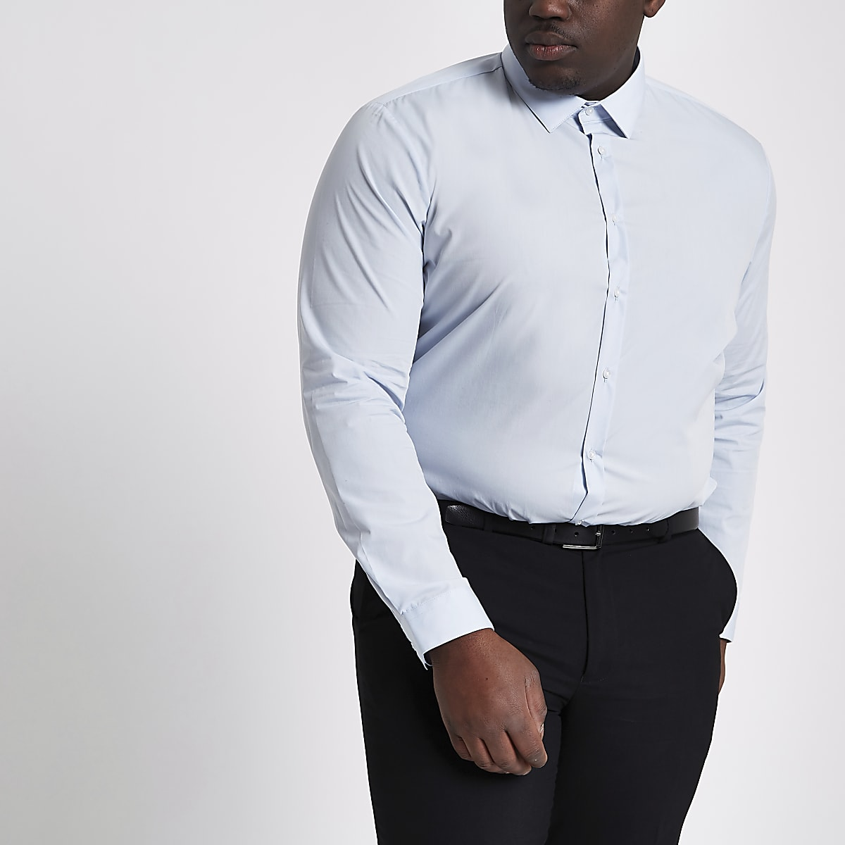 Lichtblauw Overhemd.Big And Tall Lichtblauw Overhemd Met Lange Mouwen Overhemden Met