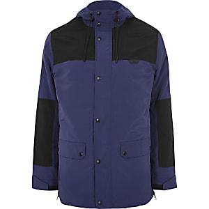 Blue block hooded jacket