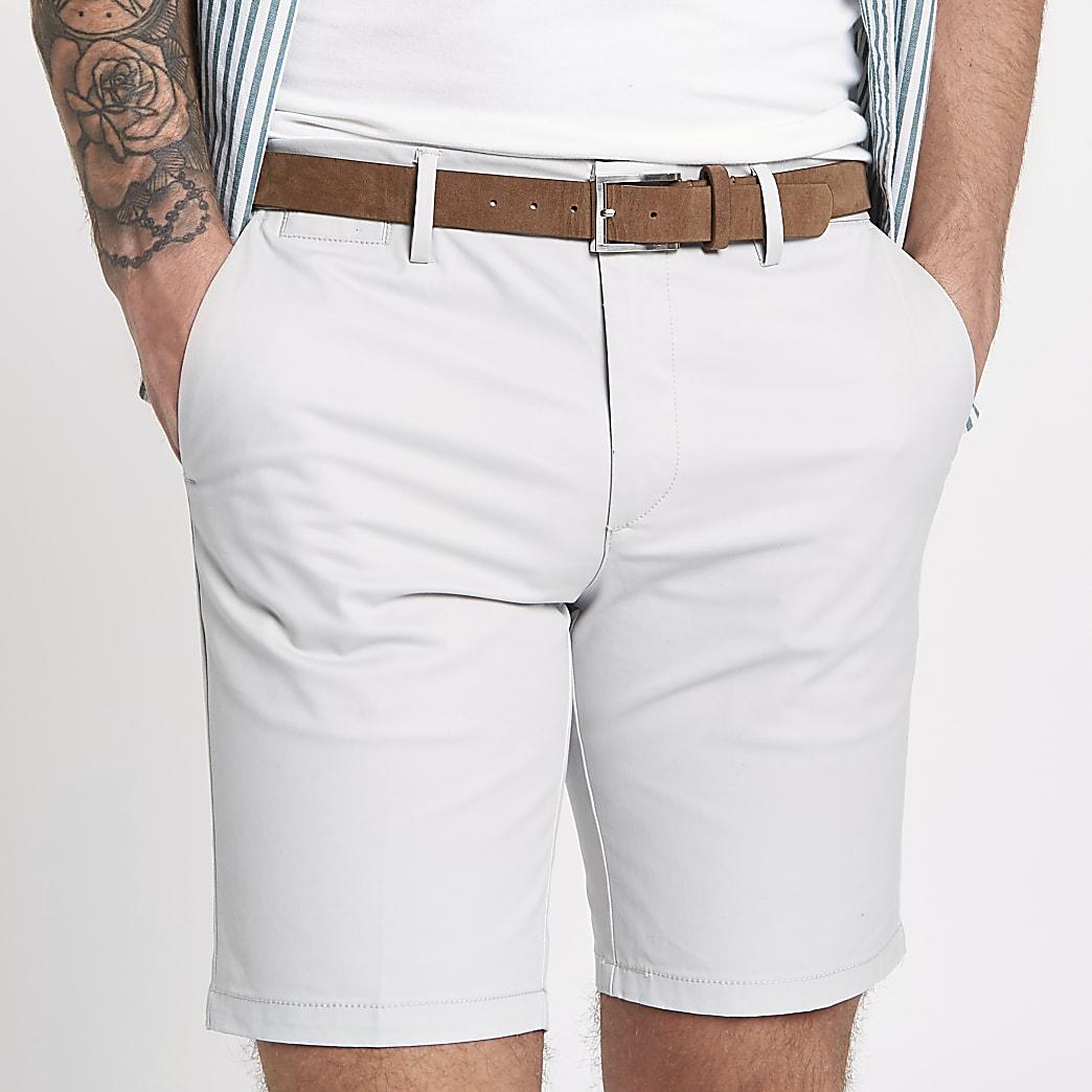Short chino gris clair à ceinture