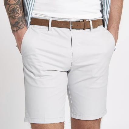 Light grey belted chino shorts