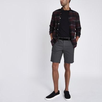 Dark grey slim fit belted chino shorts