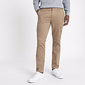Tan brown slim fit chino trousers