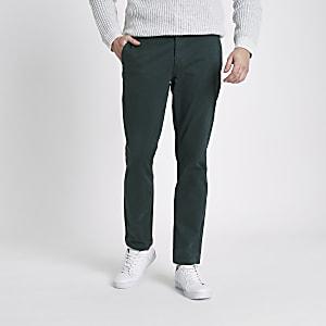 Dark green slim fit chino pants