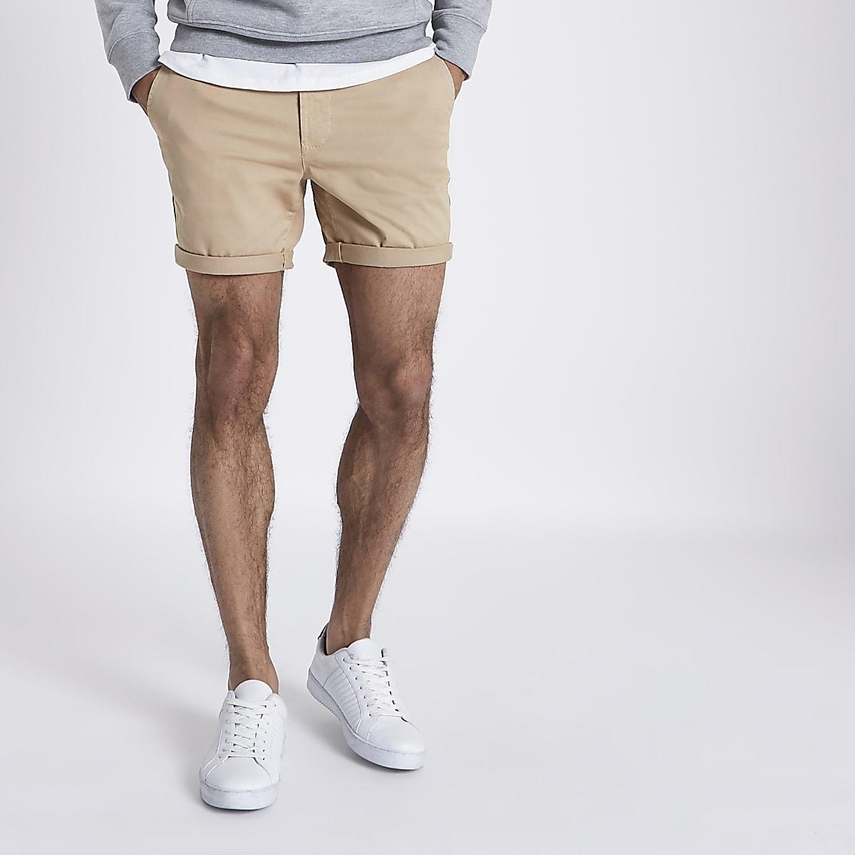 Turn Hem Slim Fit Chino Up Tan Shorts IYbfyg76v