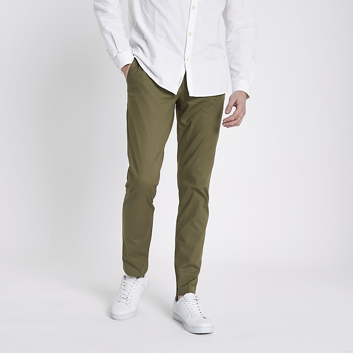 Khaki green slim fit chino pants