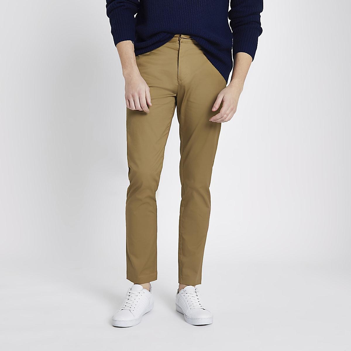 Tan skinny chino trousers