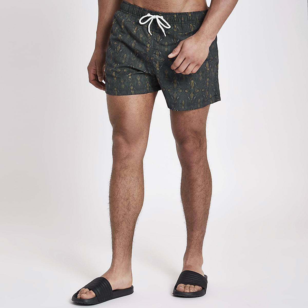 Green aztec print short swim shorts