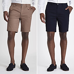 Set van 2 marineblauwe en bruine slim-fit chino shorts