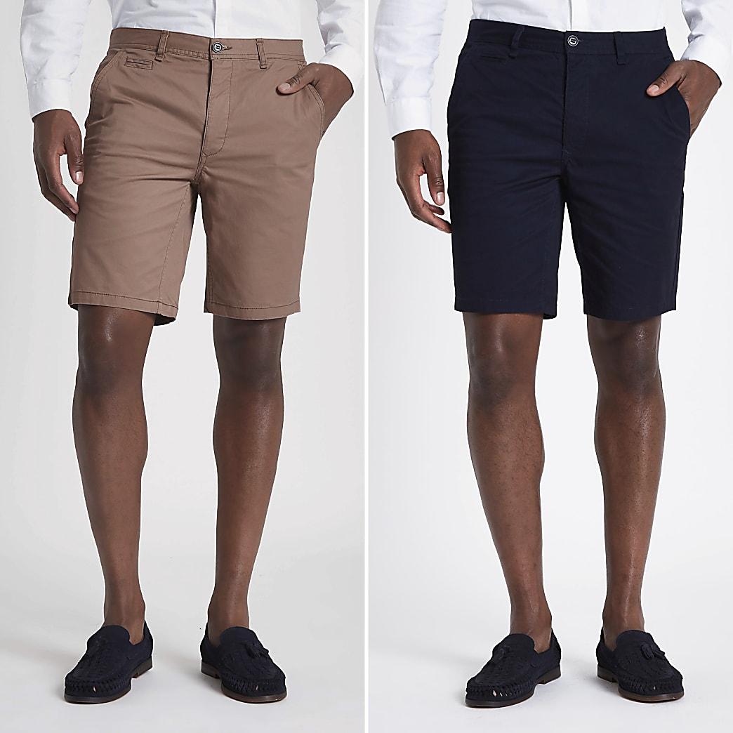 Navy and tan slim fit chino shorts 2 pack