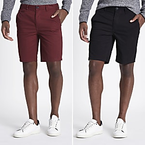 Schwarze Slim Fit Chino-Shorts, 2er-Pack