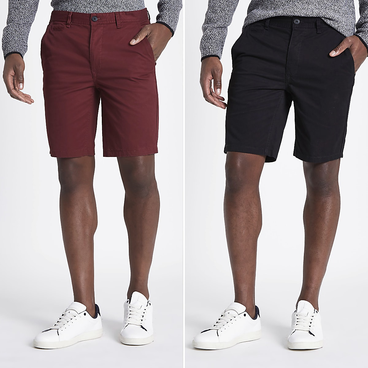 Chino Korte Broek Heren.Set Van 2 Zwarte Slim Fit Chino Shorts Geklede Shorts Shorts Heren