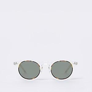 Transparente, runde Retro-Sonnenbrille