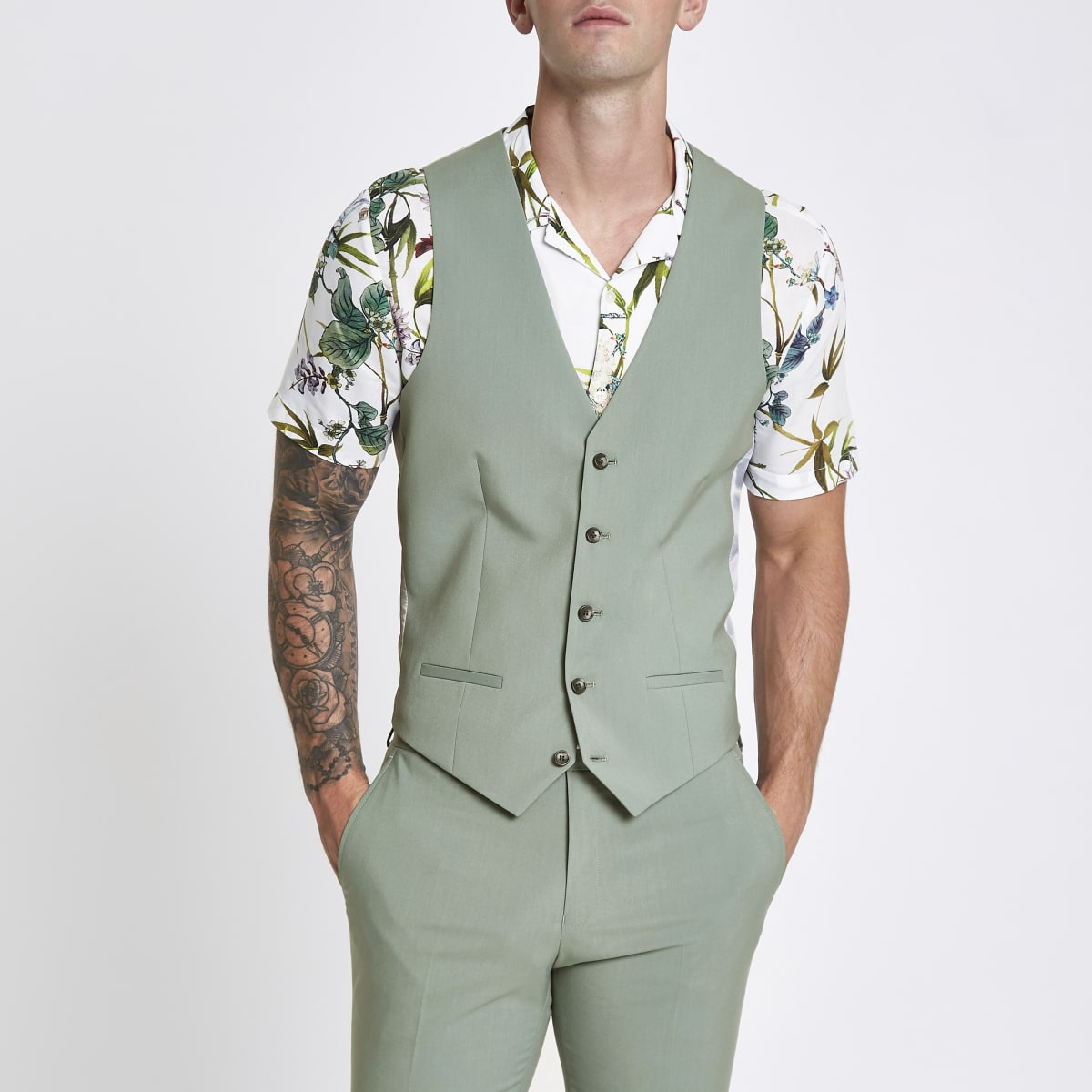 Mint green suit vest