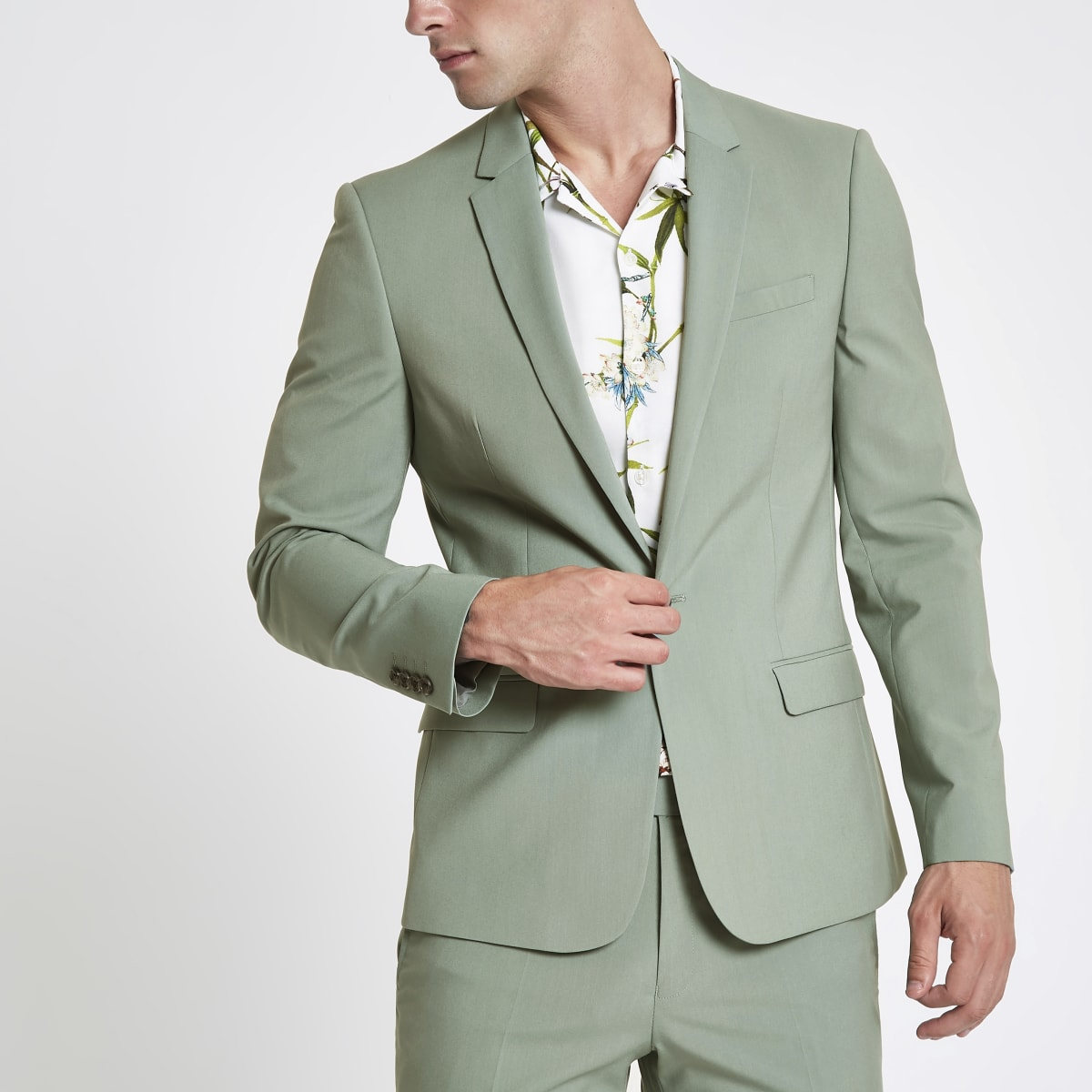 Mint green stretch skinny fit suit jacket