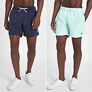 Navy and mint blue short swim trunks 2 pack
