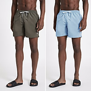 Khaki green and light blue swim trunks 2 pack