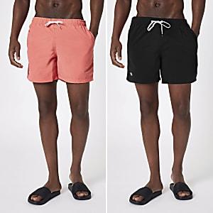 Set van 2 zwarte en koraalrode zwemshorts