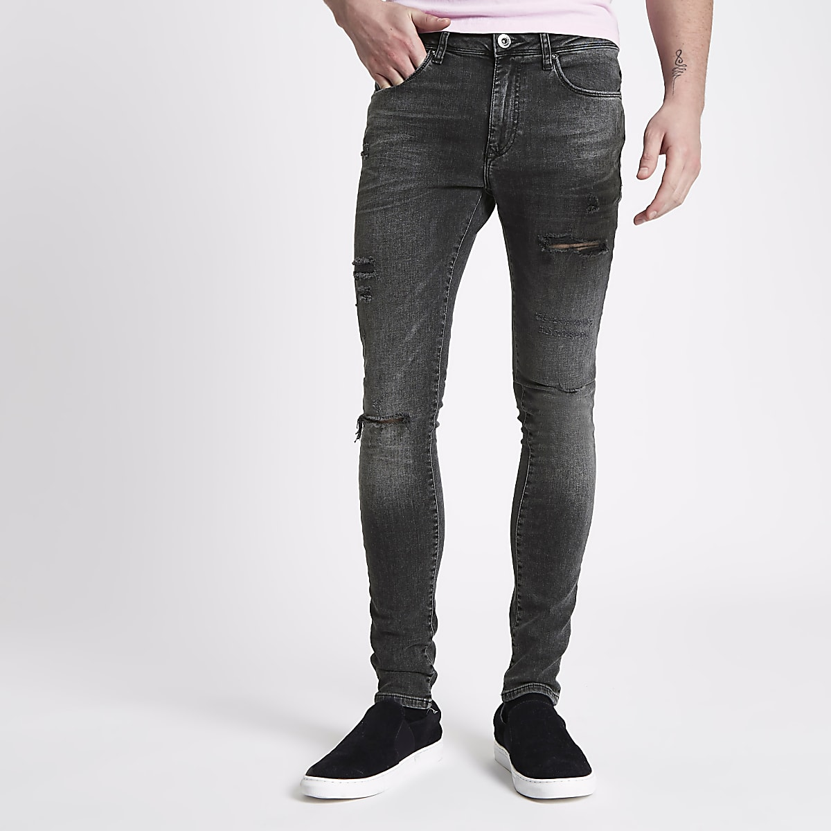Washed black Danny ripped super skinny jeans