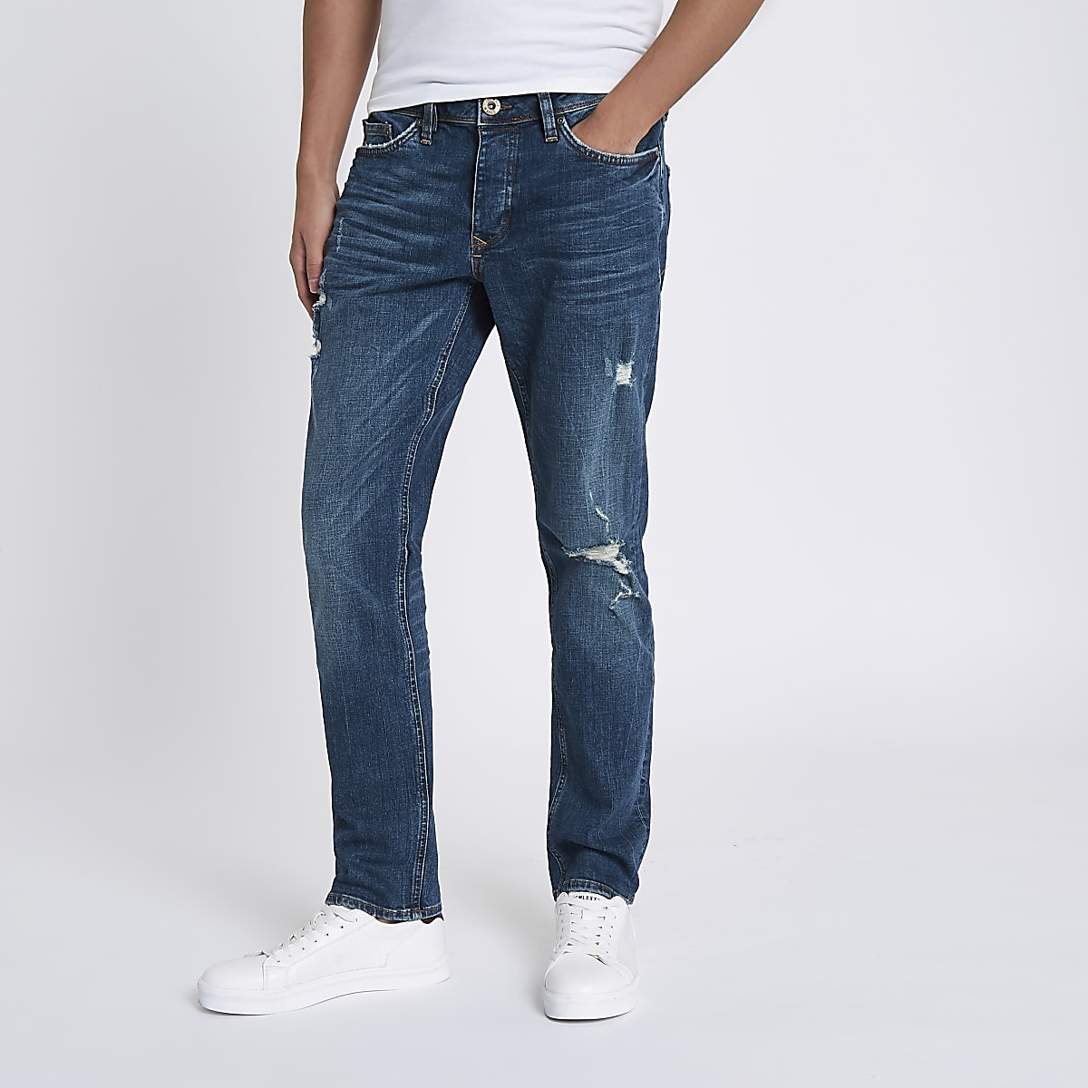 Mid blue Dylan ripped slim fit jeans