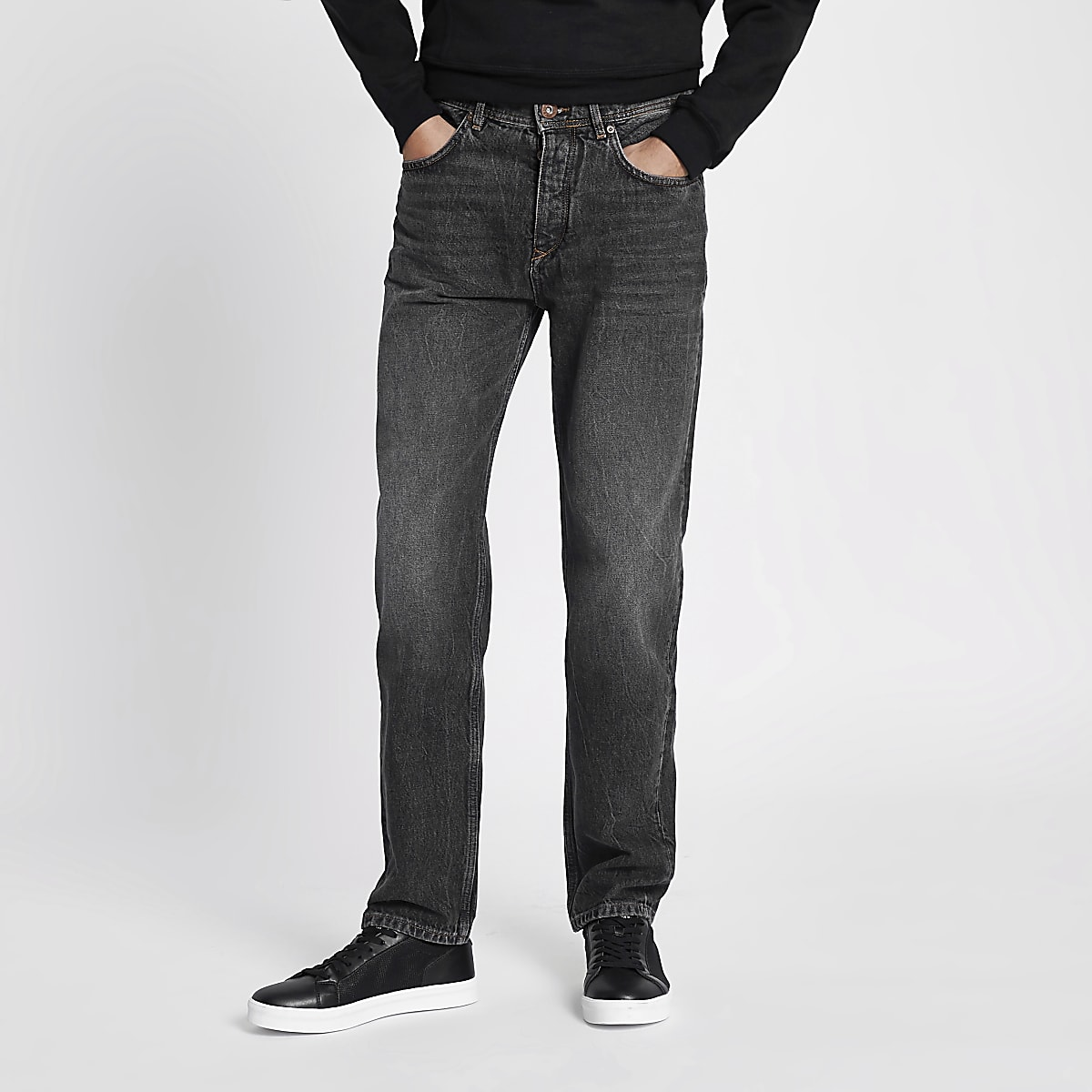 Black washed Dean standard jeans