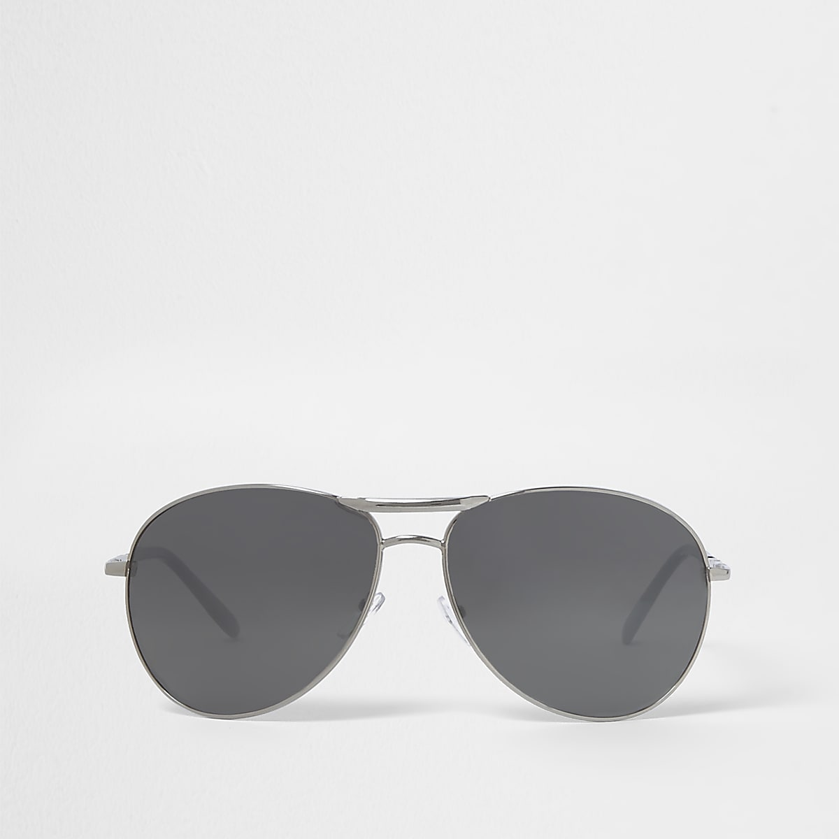 Silver tone aviator mirror sunglasses