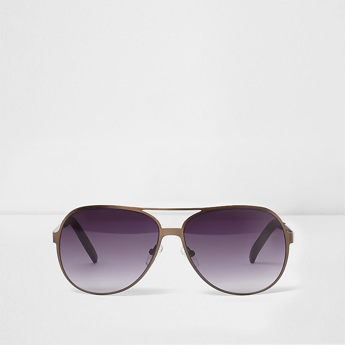 Bronze tone aviator sunglasses