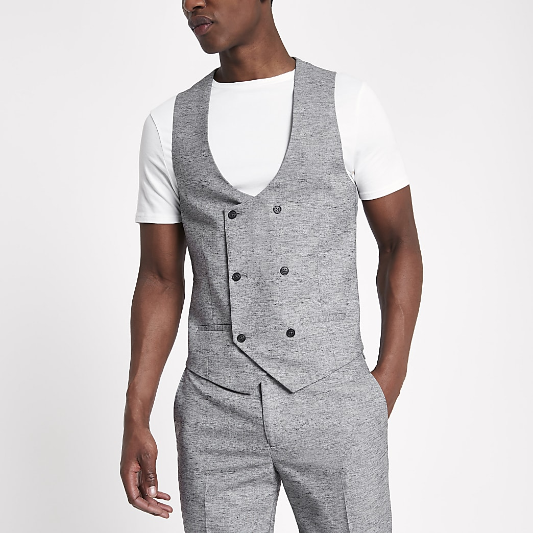 Light grey double breasted suit waistcoat