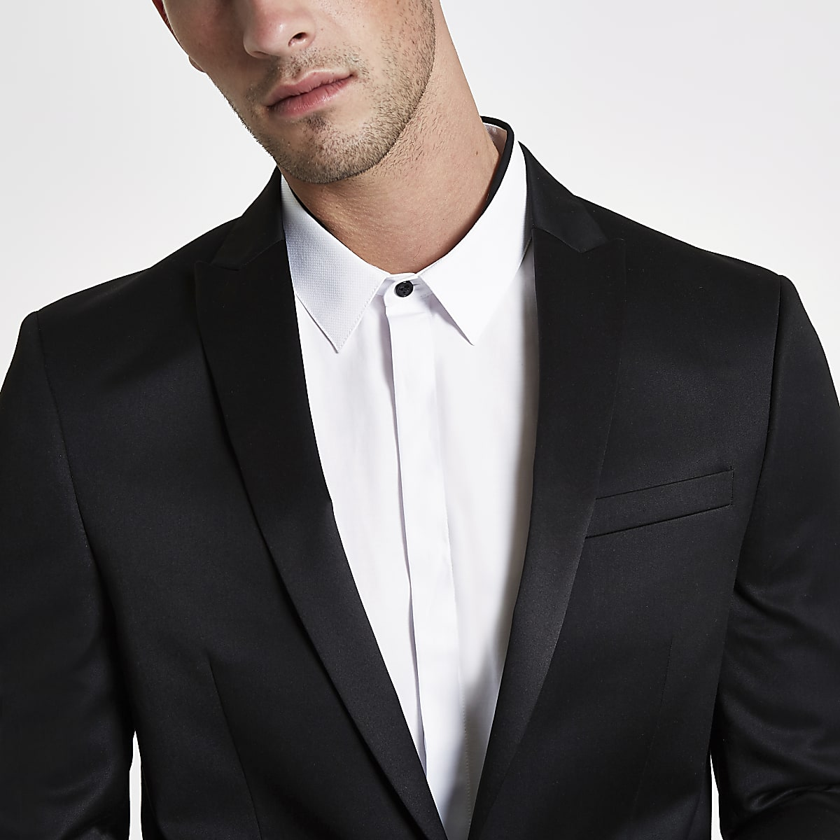 Black satin skinny suit jacket