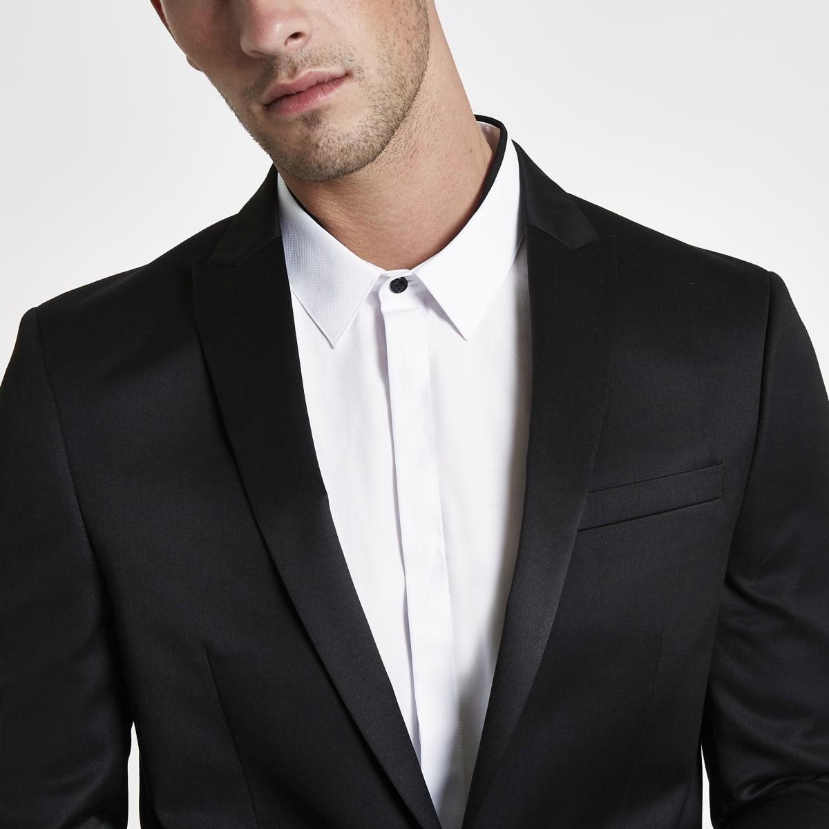 Veste de costume skinny en satin noire