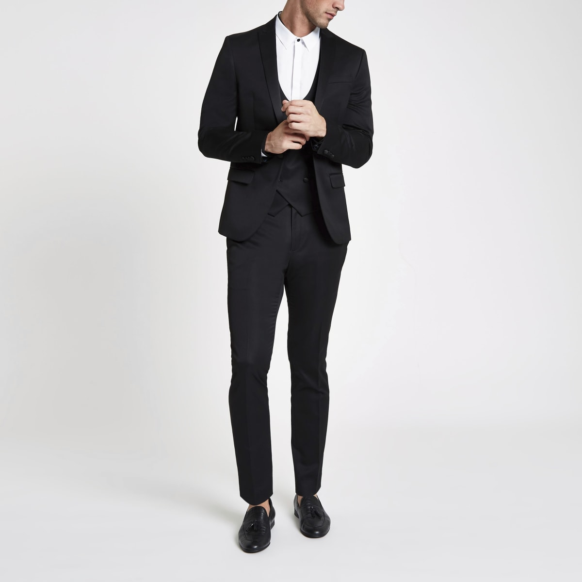 Black satin skinny suit trousers