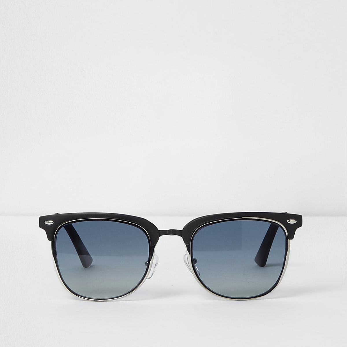 Black blue lens retro frame sunglasses